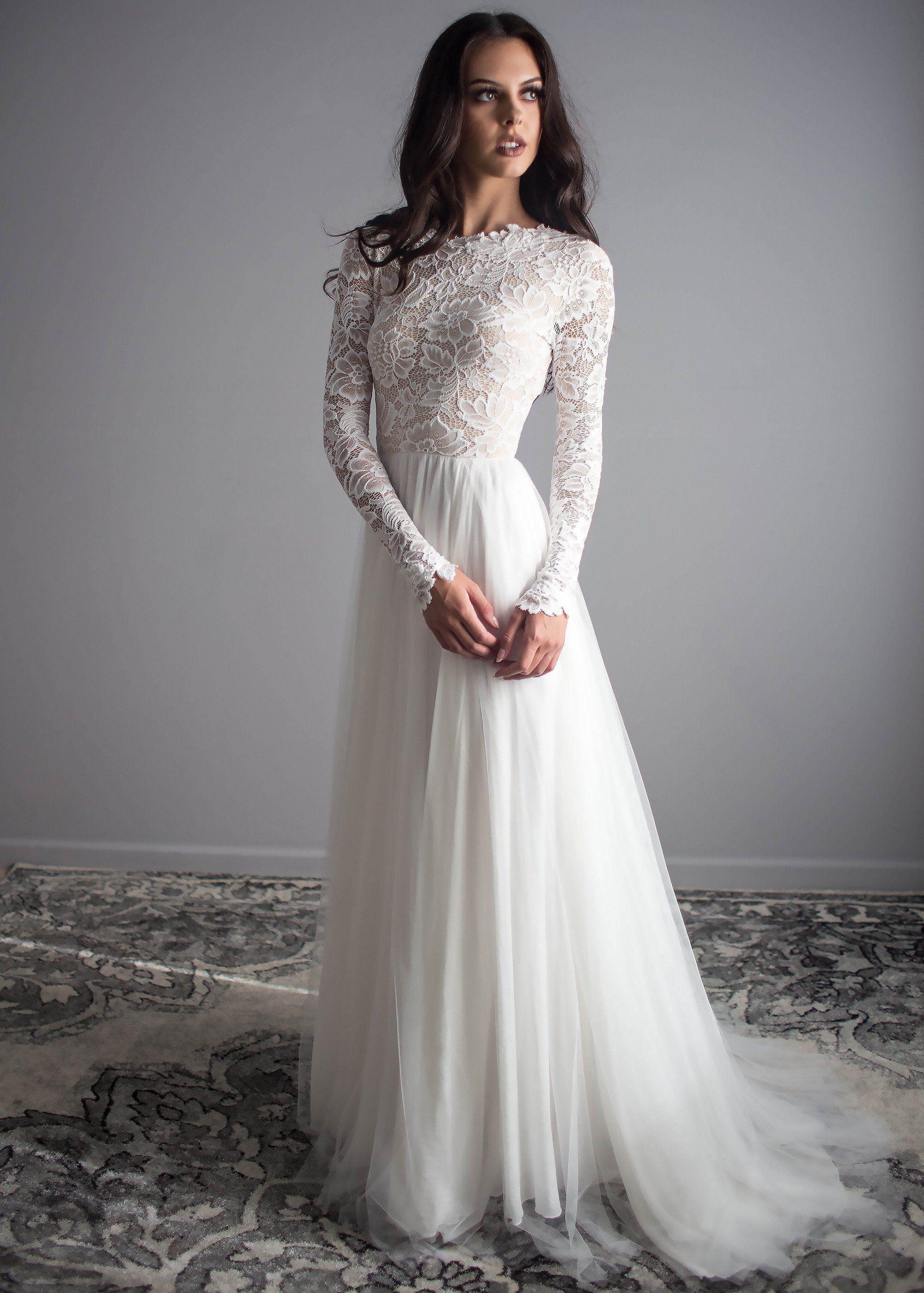 Zoey Scoop Back Dress Wedding Dresses Lace Wedding Dress Long Sleeve Wedding Dresses [ 2800 x 2000 Pixel ]