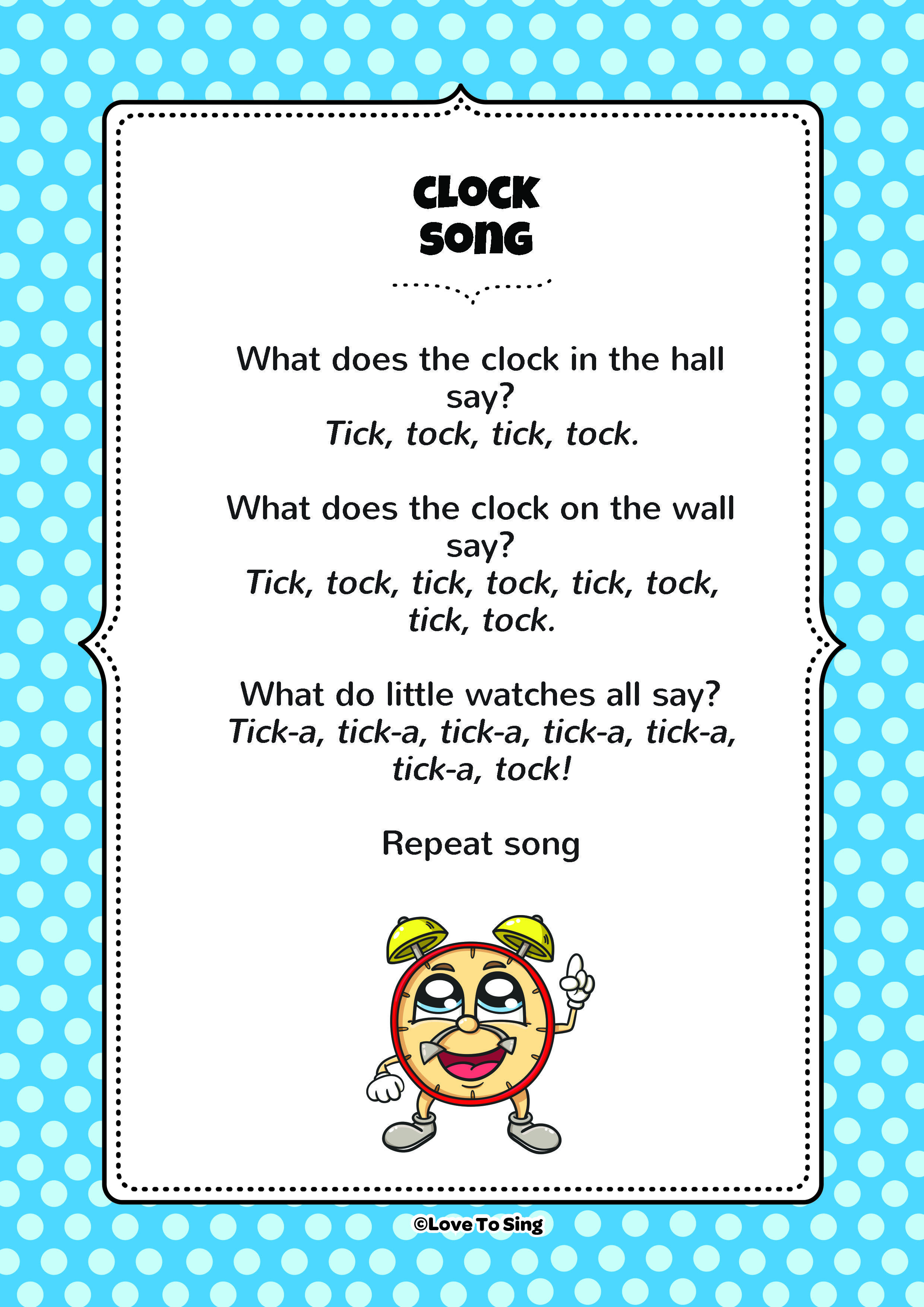 Clock Song | Kids Action Songs | Clocks song, Free song ...
