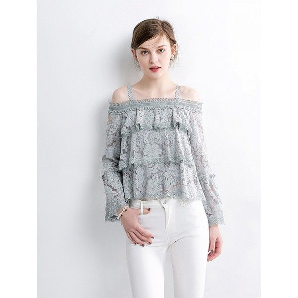 270aee1c985075 Choies Gray Layer Ruffle Cold Shoulder Bell Sleeve Lace Top ( 22) ❤ liked on
