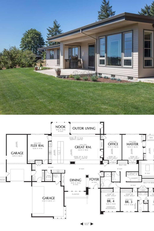 4 Bedroom Single Story Chebeague Contemporary Home For Corner Lot Floor Plan Floor Plans Ranch Style Floor Plans Modern Farmhouse Floors