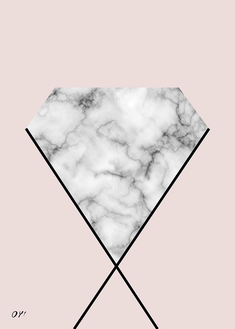 marble & diamond print society6 diamond kristals OY