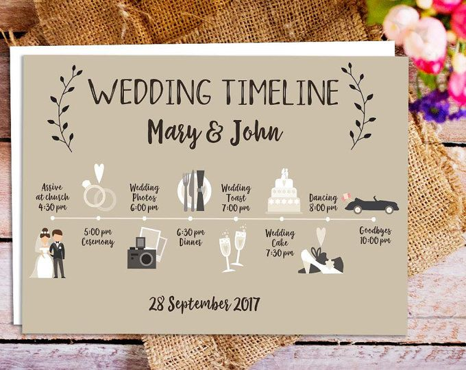 Printable Wedding Itinerary Custom Big Day Timeline Program
