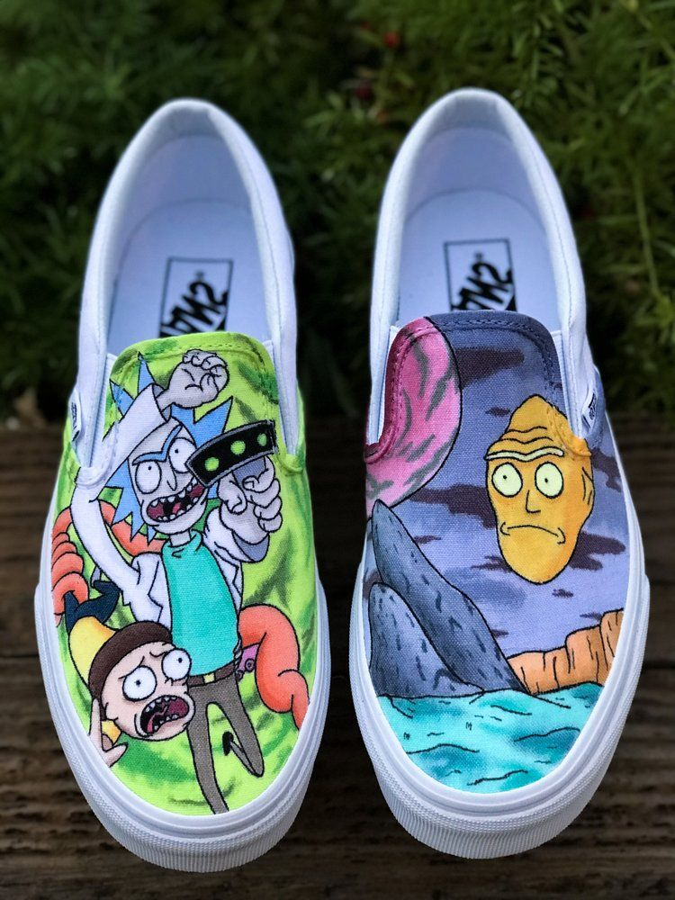 Rick and Morty Slip On   Custom vans shoes, Painted shoes