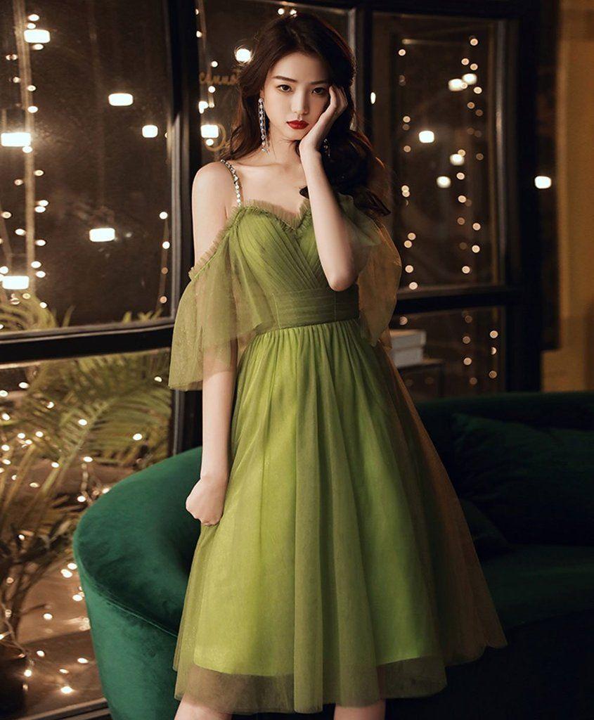 2021 Simple Green Tulle Short Prom Dress Green Evening Dress Green Prom Dress Green Evening Dress Short Prom Dress [ 1024 x 845 Pixel ]