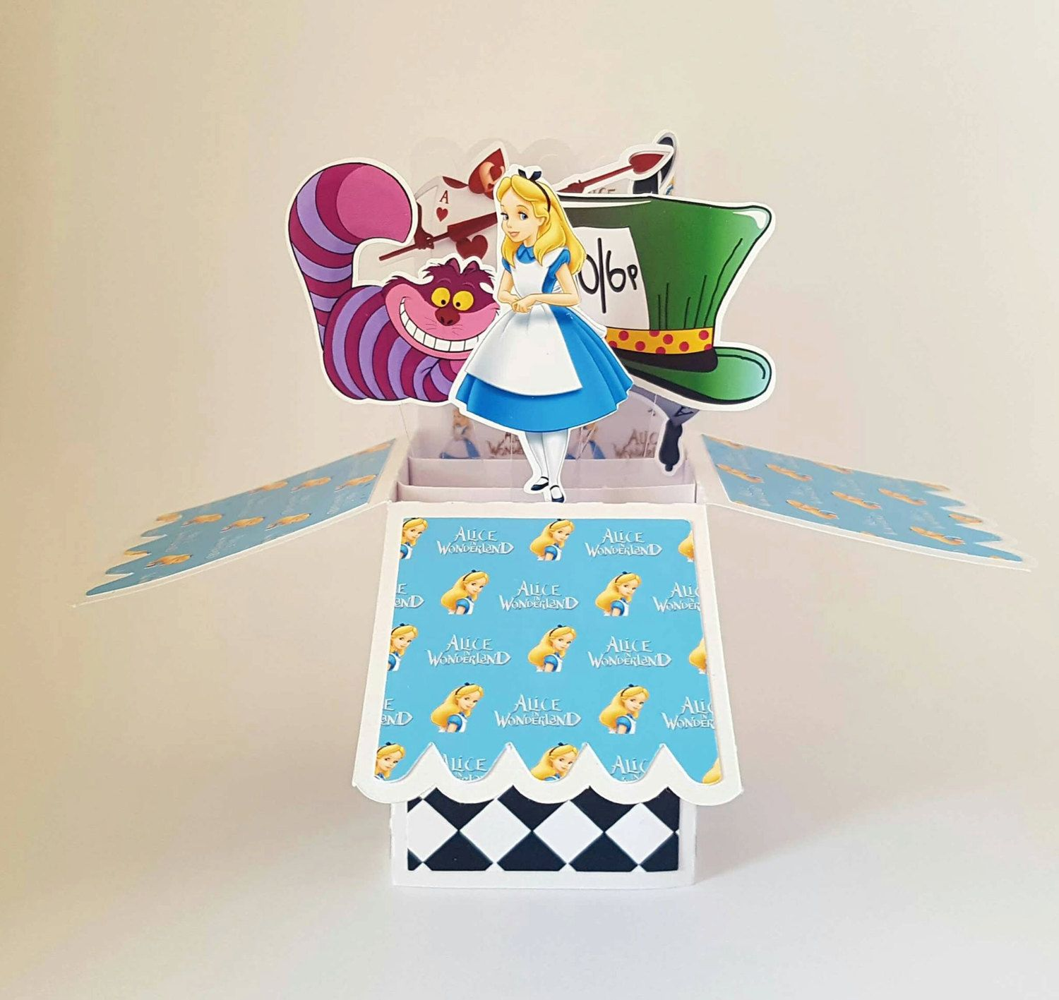 Disney Alice In Wonderland 3d Pop Up Personalised Greeting Card Cheshire Cat Madhatter Birthday Handmade Disney Birthday Card Kids Birthday Cards Disney Cards