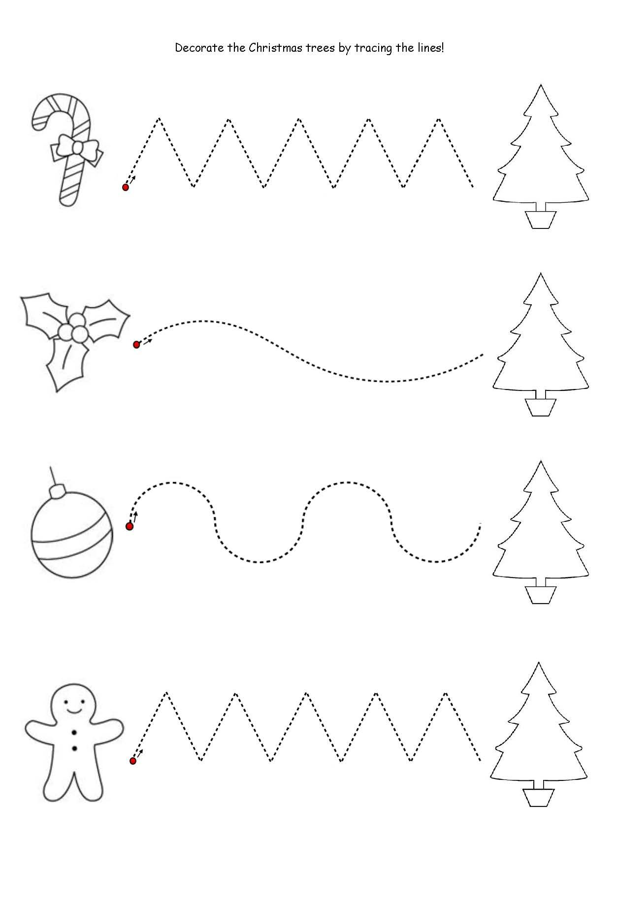 Get the kids tracing lines to match the decoration to the tree! Once ...