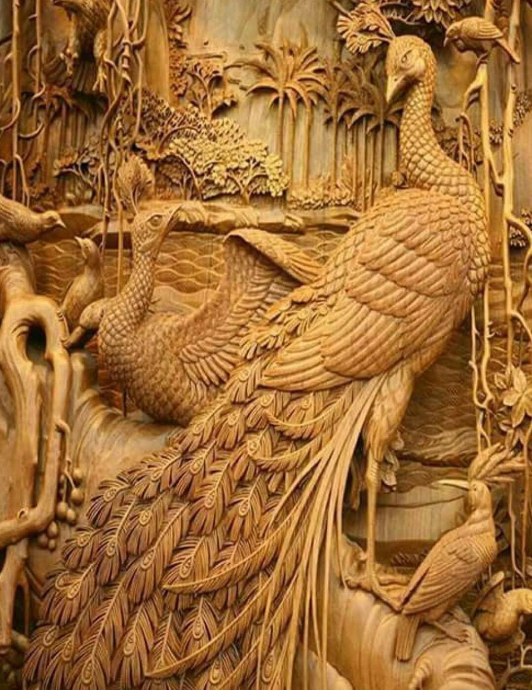 Pin by quixotes world on ak: proud as peacocks wood carving art