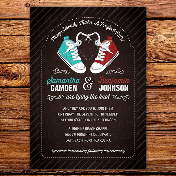 Converse Style Wedding Invite In Any Color By Littlebeesgraphics