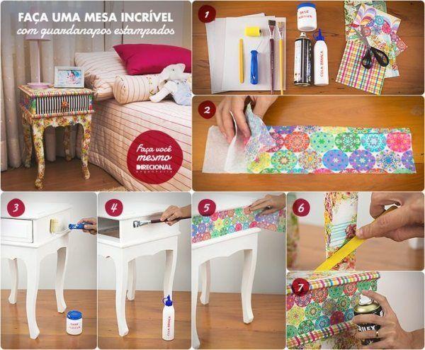 Renovar la mesita de noche con decoupage de servilletas y for Decoupage con servilletas en muebles