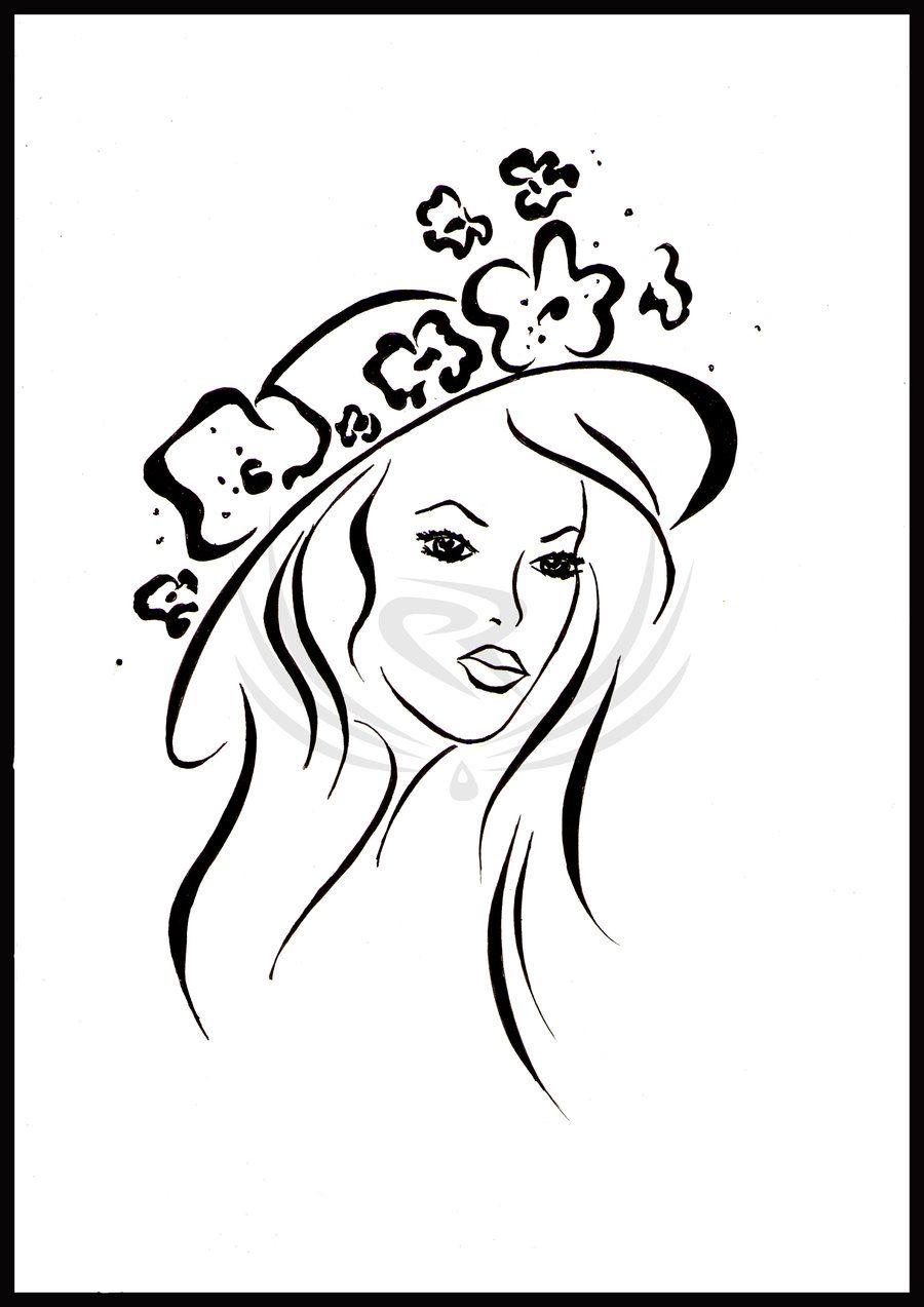 dama con sombrero   dibujos   Pinterest   Damas, Siluetas y Dibujo