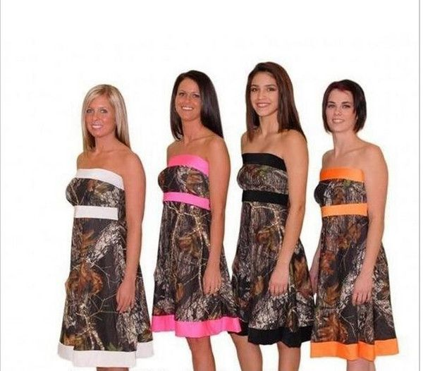 Cheap 2016 Mini Short Camo Bridesmaid Dresses A Line Strapless Girls