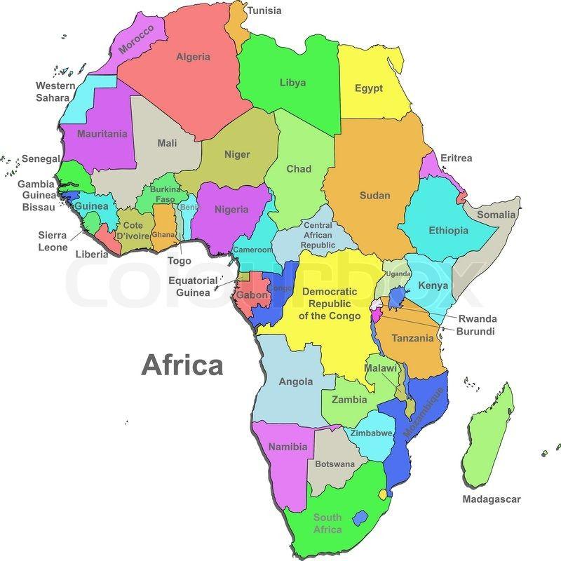 Vektor Politisk Kort Over Afrika Med Lande Pa En Hvid Baggrund