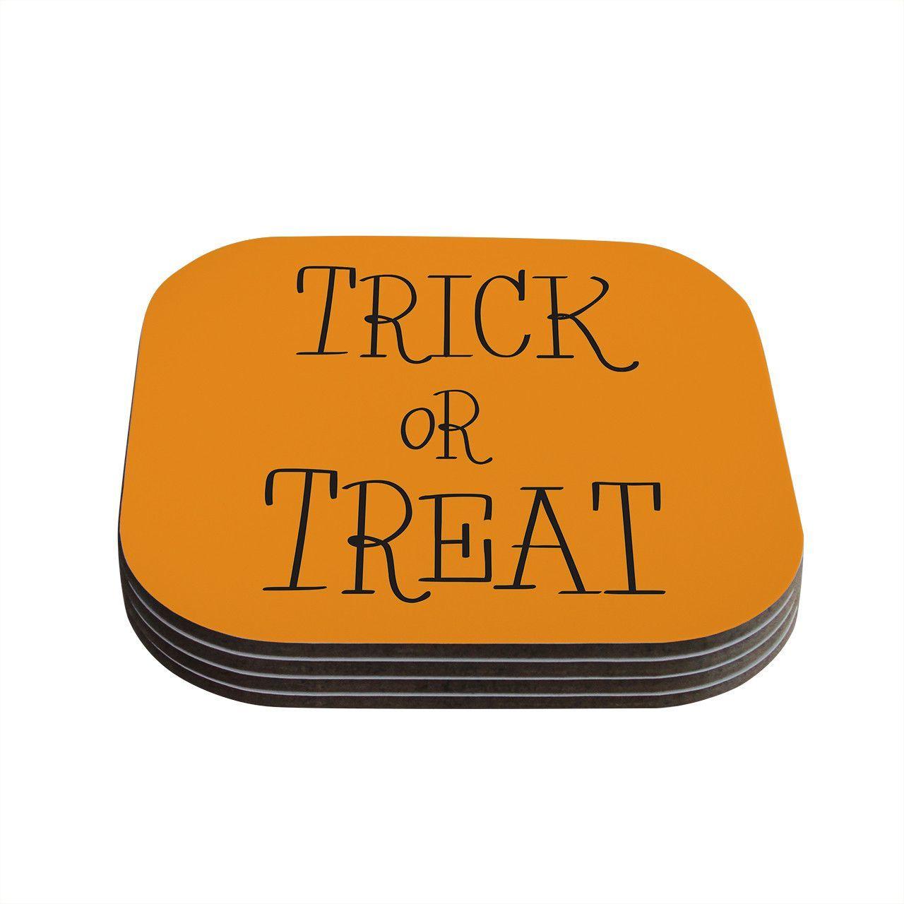 "KESS Original ""Trick or Treat - Black"" Coasters (Set of 4)"
