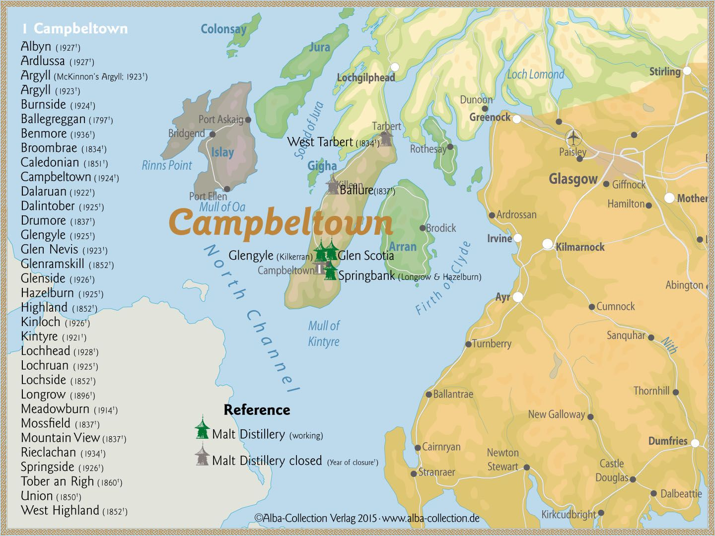 Campbeltown Scotland Map.Whisky Regions Of Scotland Chart 23 Region Campbeltown Malt