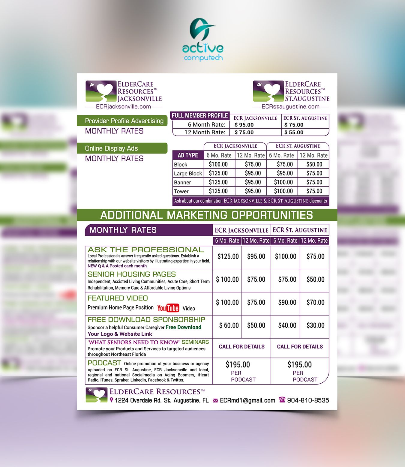 Sell Sheet Rate Card And Flyer Designs Http Activecomputech Com Web Design Amazing Website Designs Freelance Graphic Design