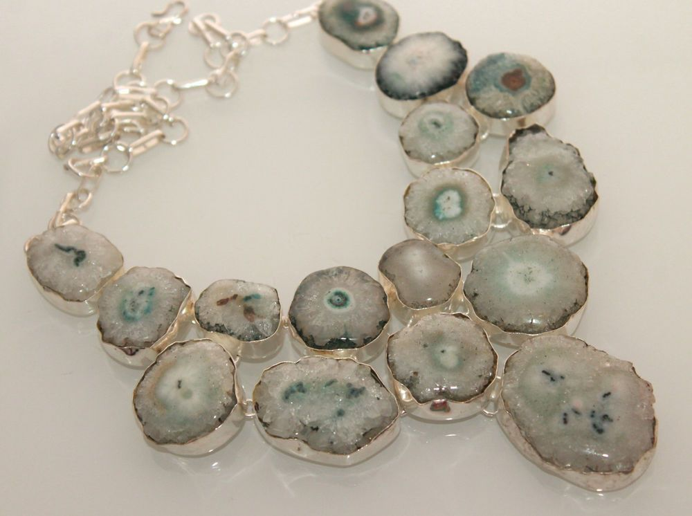 OCEAN BEACH GREY GREEN DRUZY 925 STERLING SILVER FASHION JEWELRY NECKLACE S212 #925silverpalace #Charm