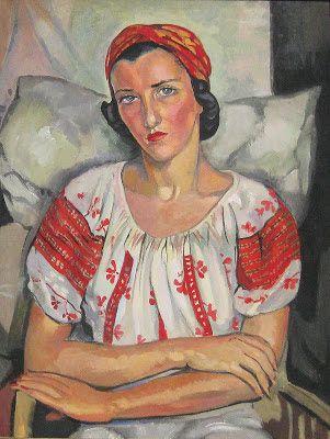 Portrait d'une Femme Assise dans une Robe Rouge et Blanche femmes artistes peintres women artists painters : Alix Aymé (1894-1989)