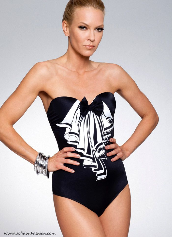 26501c3dcb Strapless Black   White One Piece Bathing Suit - Rebecca Designer Swimwear