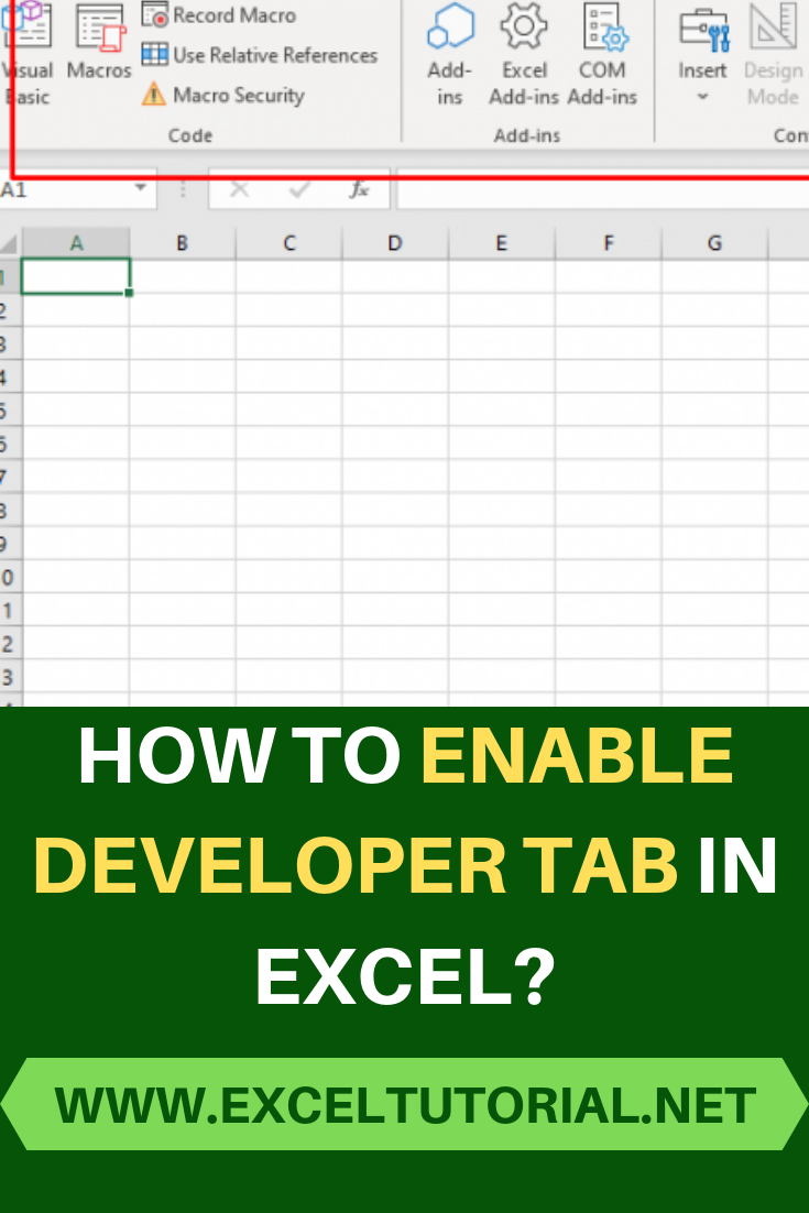 How To Enable Developer Tab In Excel Microsoft Excel Tutorial Excel Tutorials Excel