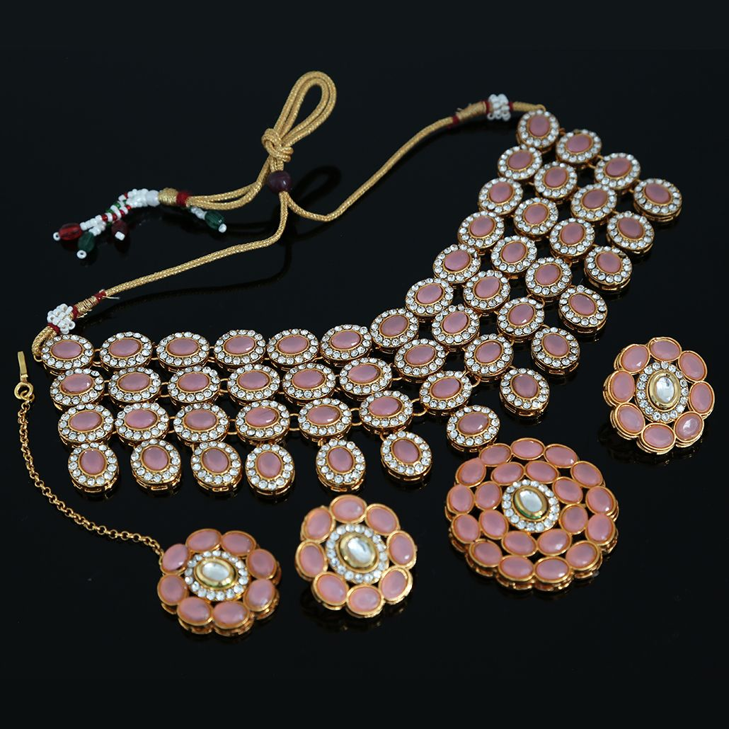 Pink Rose Stone Studded Choker Necklace inspired by ...
