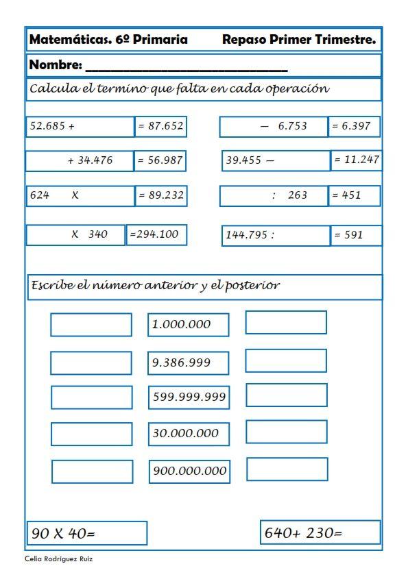 Ejercicios De Matemáticas Para Sexto De Primaria Matematica Ejercicios Fichas De Matematicas Matematicas