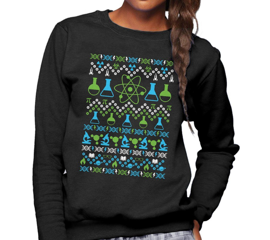 Ugly Science Geek Christmas Sweater Sizes Small 3x Microscope