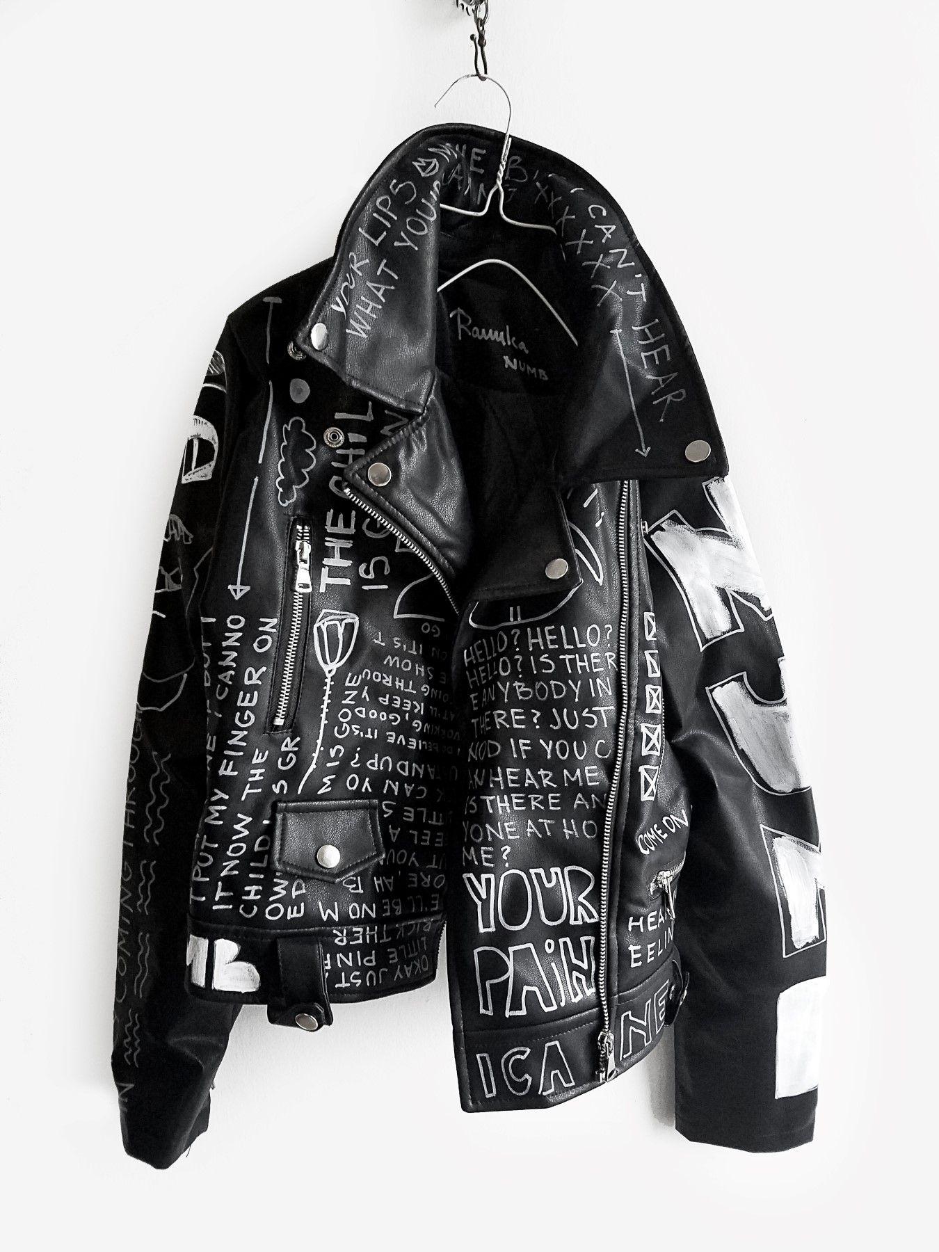 Numb hand painted black jacket Painted leather jacket