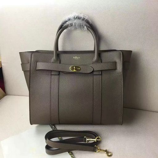 2017 New Mulberry Small Zipped Bayswater Tote in Clay Small Classic Grain f48012afad1fa