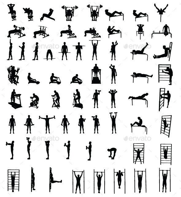 Man Fitness Exercise Group Silhouettes #AD #Fitness, #Ad, #Man, #Exercise, #Silhouettes