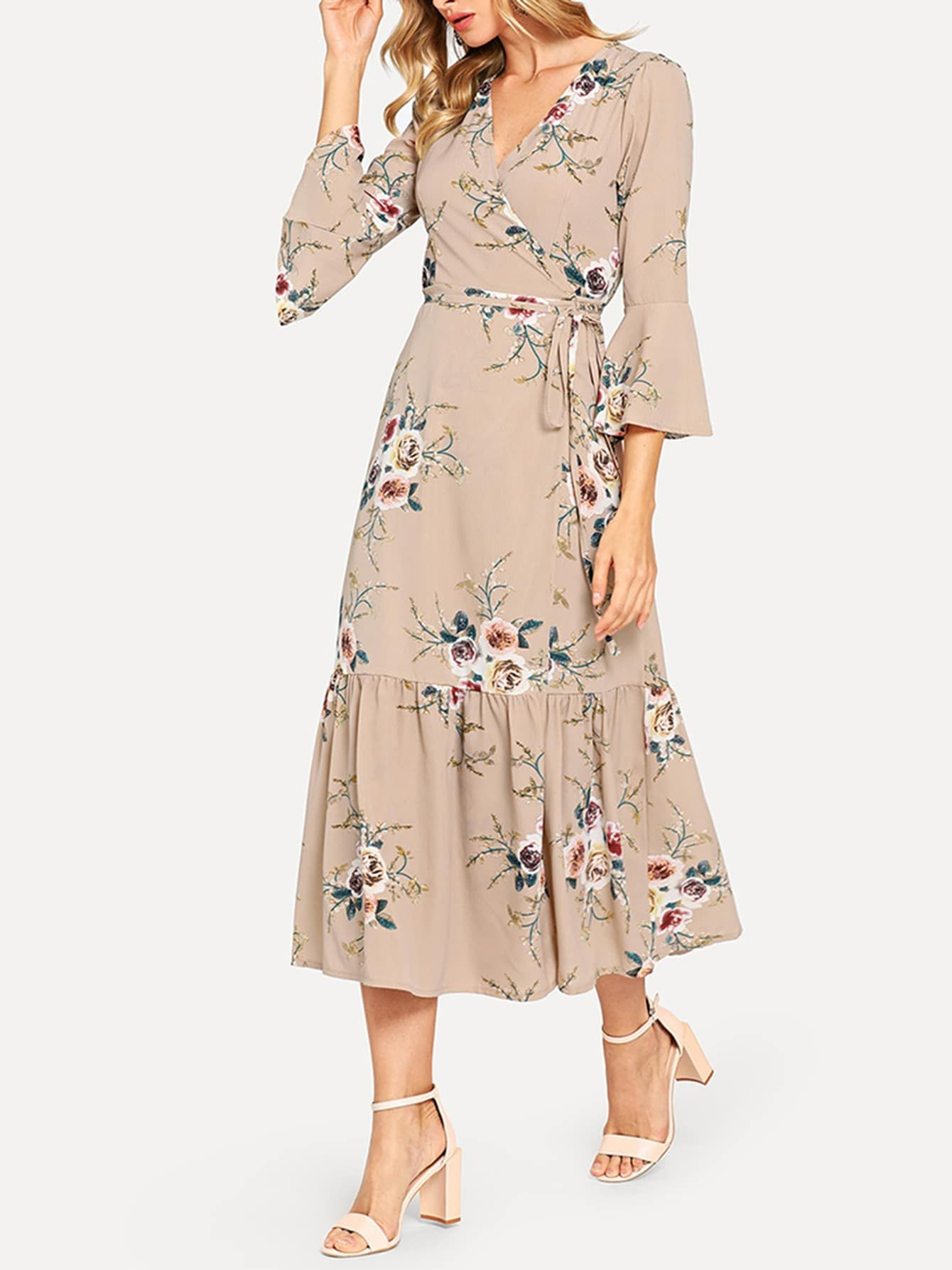 Floral Print Flounce Sleeve Knot Waist Dress Modest Dresses Dresses Fashion [ 1787 x 1340 Pixel ]