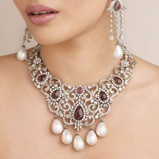 Image result for diamond necklace with neck