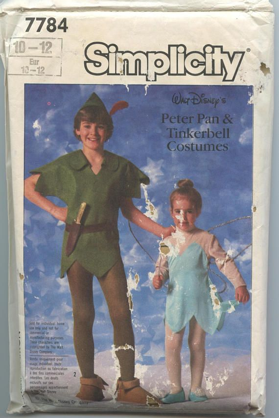 1980\'s Simplicity 7784 Peter Pan and Tinkerbell Boys or Girls ...