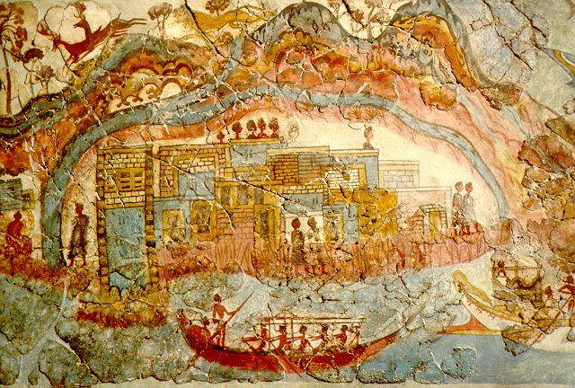 Pintura de uma cidade minóica. Essa pintura encontrada na parede de uma casa no sítio arqueológico de Akrotiri na ilha de Thera (hoje Santorini), pode demonstrar qual era a aparência de um típico palácio e de uma típica embarcação minóica.