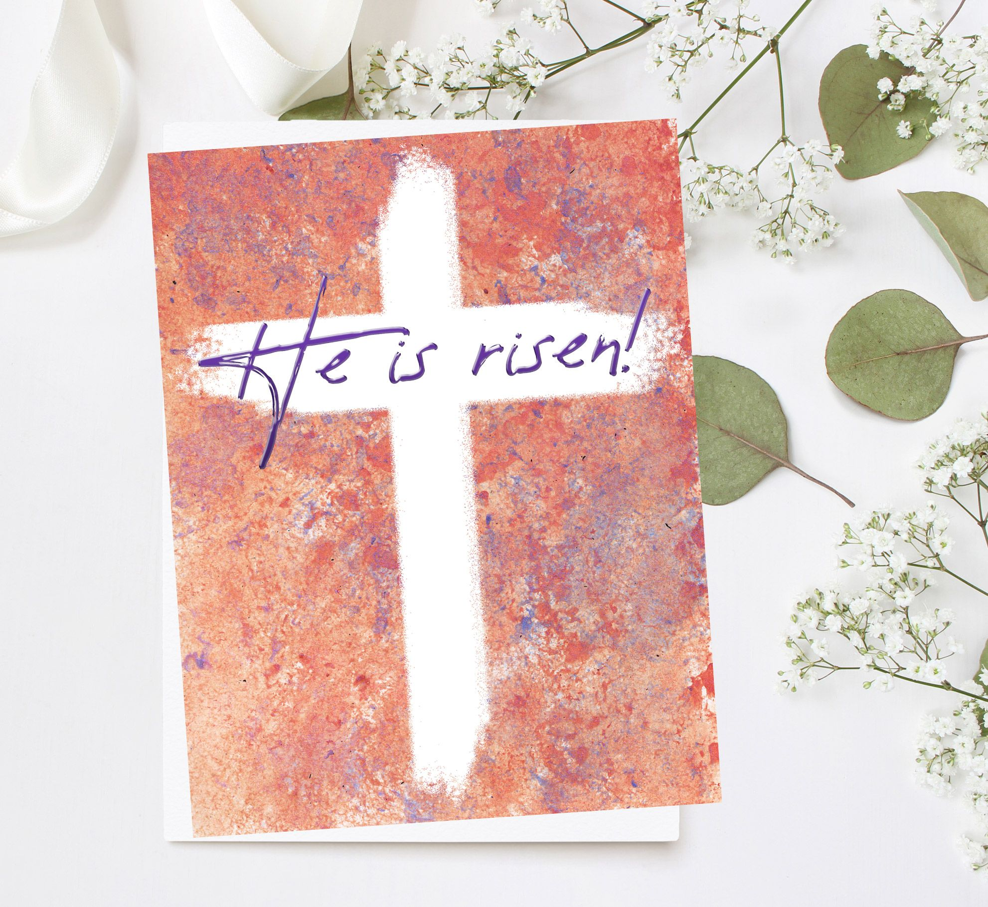 Crucifix Easter Card Modern Easter Card Bible Easter Card