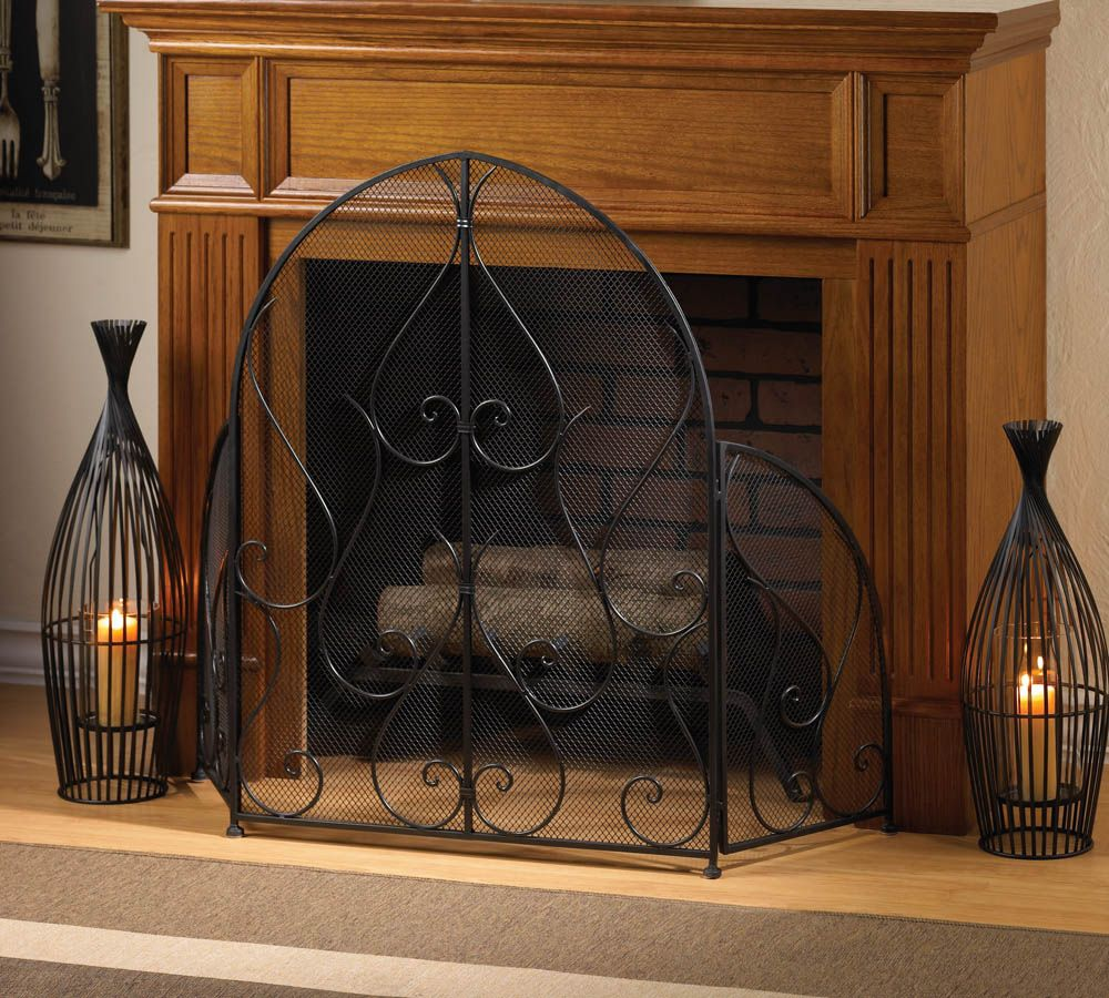 Embellished Wrought Iron Fireplace Screen Aspen Country Decorative Fireplace Screens Wrought Iron Fireplace Screen Fireplace Screen
