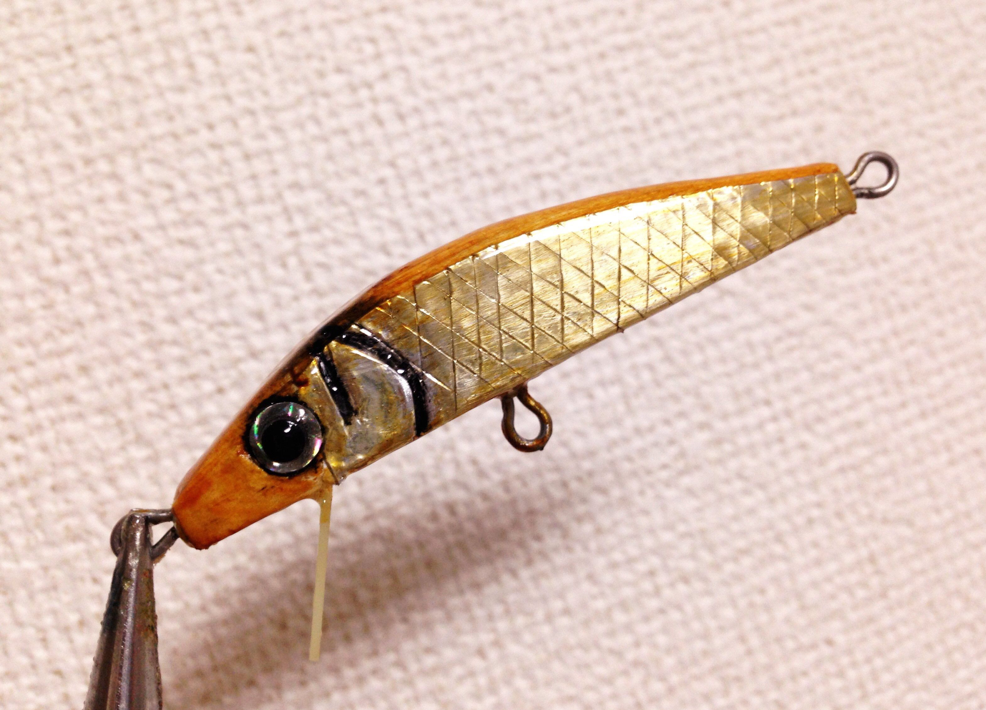 Fishing lure i made from hinoki wood and polymer clay