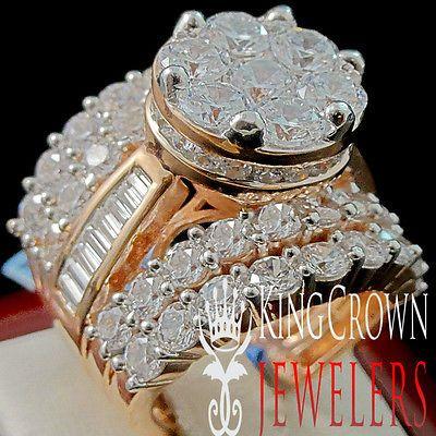 Big Bold Ladies Rose Gold Finish Real Sterling Silver Bridal