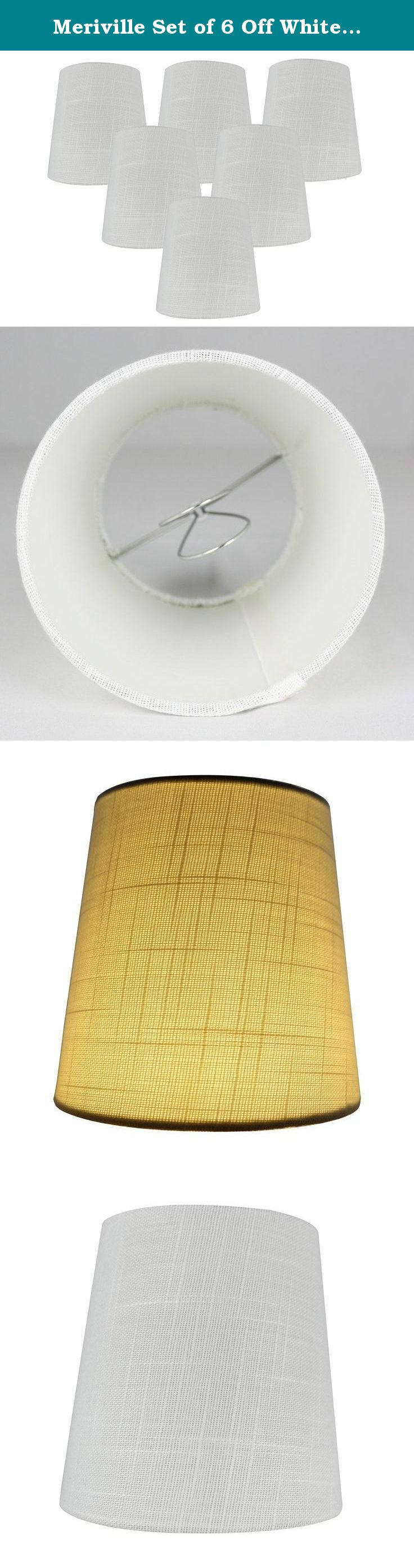 Meriville Set of 6 Off White Linen Clip On Chandelier Lamp Shades ...