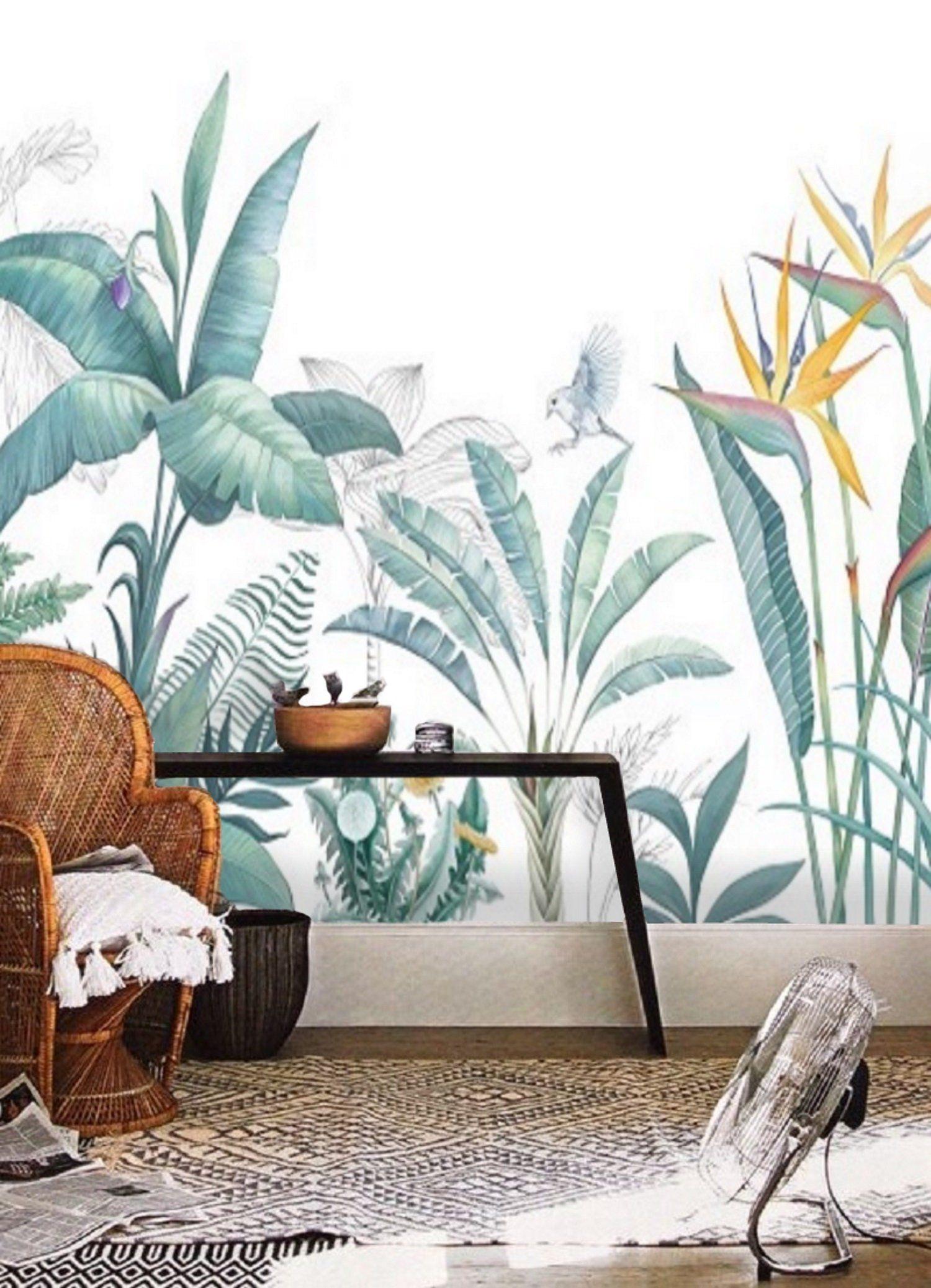 Peel 'n Stick Wall Paper Jungle Mural Removable Wallpaper