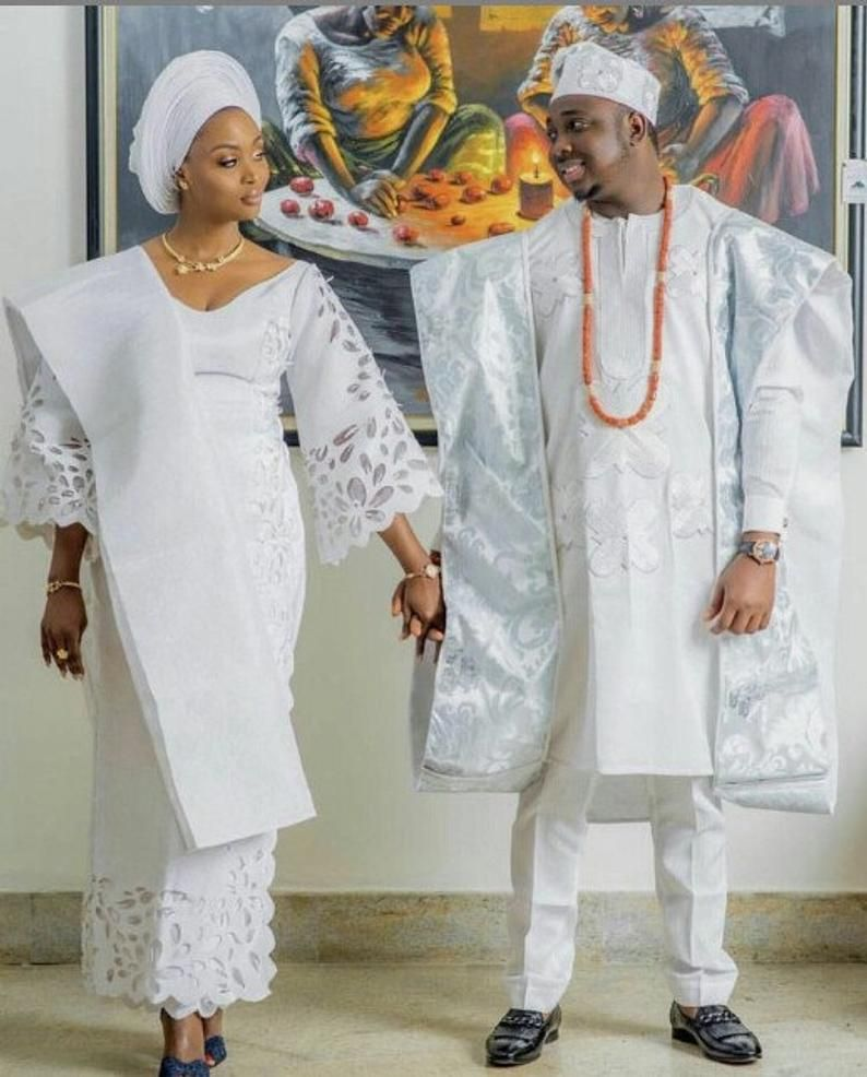 Custom made african traditional couple aso oke wedding