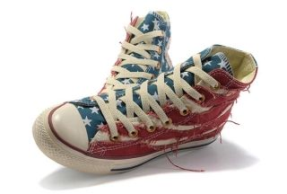 8e823fa948f9 Converse American Flag All Star High Tops Ragged Blue Red USA Flag ...