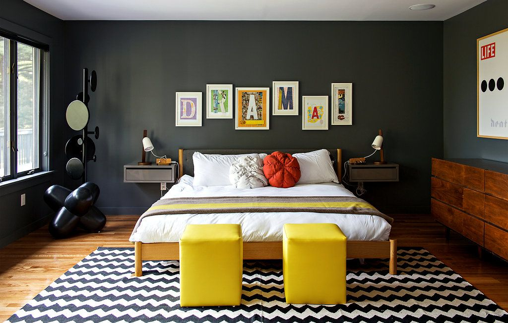 Love the black & white rug with pops of colour