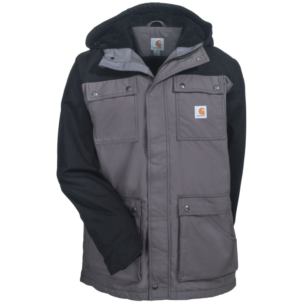 carhartt clothing men s 101682 001 black insulated water on men s insulated coveralls with hood id=74057