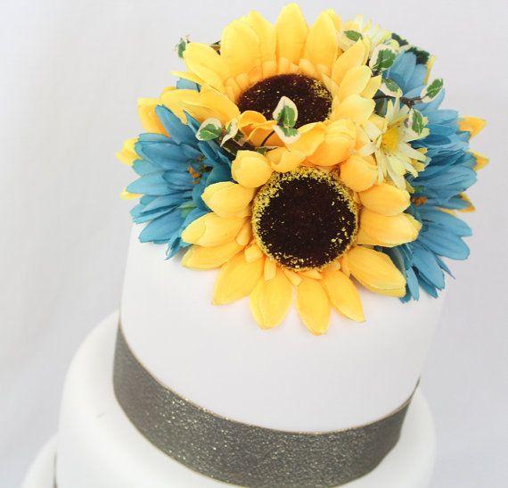 Custom Order for Carol - Sunflower, White Gerbera Silk Flower Cake ...