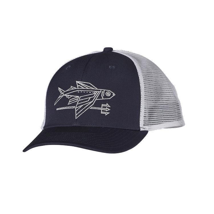 Patagonia geodesic flying fish trucker hat navy blue for Patagonia fishing hats