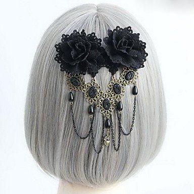 Souked Handmade Black Rose Gothic Lolita Headpiece mit Perlen Quaste