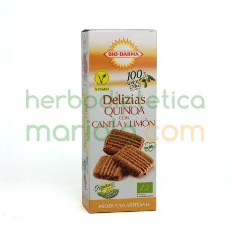 Las galletasDelizias Quinoa con Canela y Limónde Bio-Darma, son ligeras y crujientes con un punto de canela y limón que las hace apetecibles en cualquier momento, aportando las propiedades de la quinoa, especialmente para acompañar el café o té.