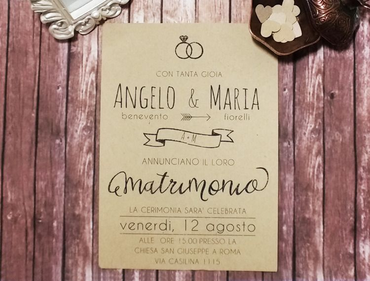Inviti Matrimonio Country Chic : Inviti matrimonio rustici shabby chic