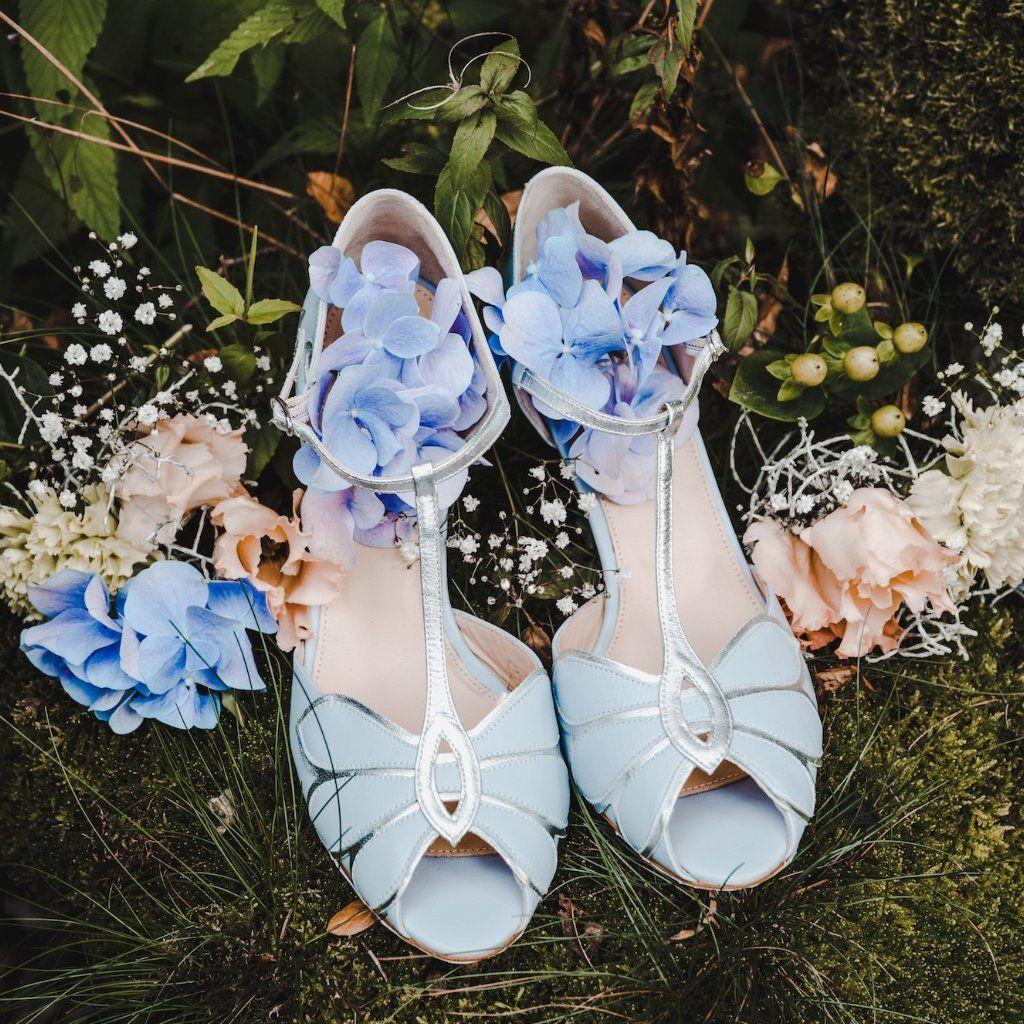 Brautschuh in Blau und Silber - Mimosa   Hochzeit   Braut ... 8473d73fb0