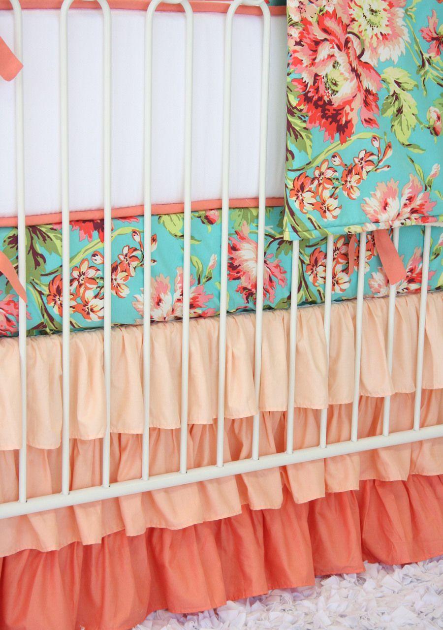 Caden Lane Baby Bedding Coral Camila Ruffle Baby Bedding